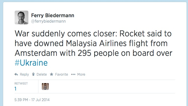1st MH17 tweet