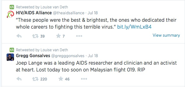 Retweets in the night from Thursday on Friday mentioning the AIDS campaigners who died on flight MH17